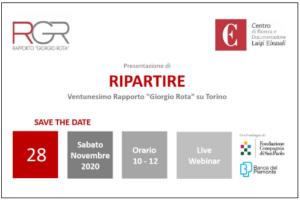 Ripartire: presentato il 28 Novembre il Rapporto Rota 2020